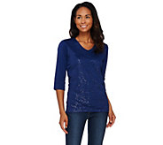 As Is Quacker Factory Sequin and Mesh-Lined 3/4 Sleeve T-shirt - A283619