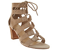 As Is Marc Fisher Suede Lace-up Block Heel Sandals - Paradox - A284719