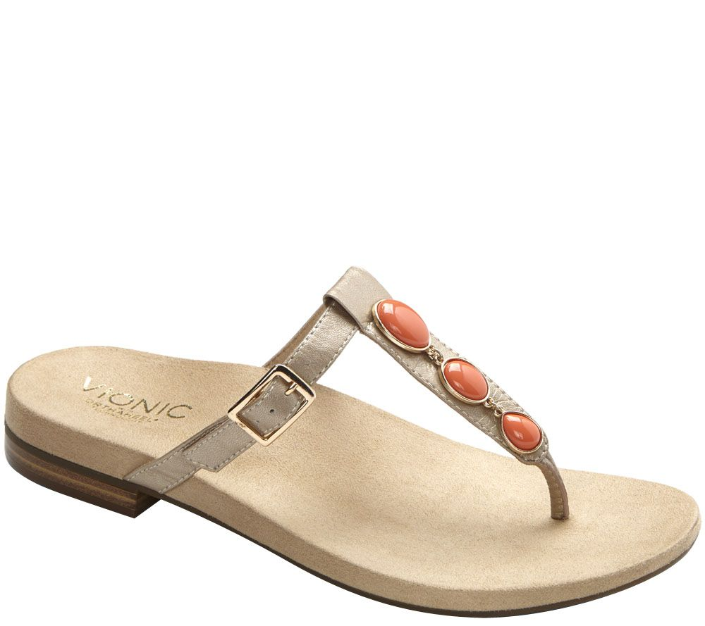 96714065ff13  quot As Is quot  Vionic w Orthaheel Leather T-strap Thong Sandal - Vionic  Sandals Sold Half-Off At QVC s Super Saturday Charity Sale ...