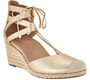 Vionic Orthotic Lace-up Wedge Espadrilles - Calypso - A286619