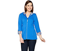 Susan Graver Weekend French Terry Hooded Jacket w/ Printed Trim - A286719