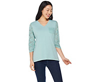 Denim & Co. 3/4 Sleeve Perfect Jersey V-Neck Top w/ Lace Detail - A286819