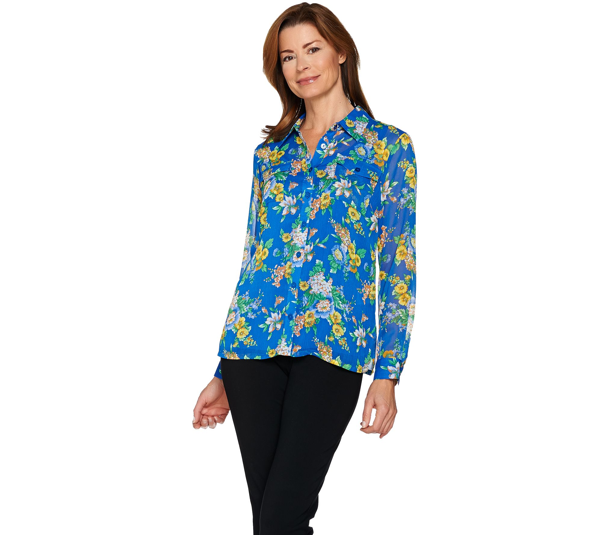 Linea by Louis Dell'Olio Floral Print Georgette Blouse w/ Tank - A287619