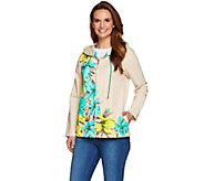As Is Susan Graver Weekend Printed French Terry Hooded Jacket - A287819