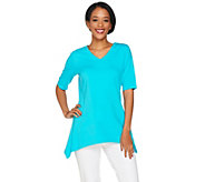 Denim & Co. V-neck Elbow Sleeve Trapeze Top with Seam Detail - A288719