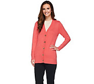 As Is Dennis Basso Rayon Nylon Long Sleeve Cardigan w/Logo Buttons - A289319