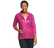 As Is Quacker Factory 3/4 Sleeve Sequin Scroll Knit Jacket w/ Hood - A289519