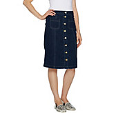 LOGO by Lori Goldstein Denim Button Front Skirt - A290519