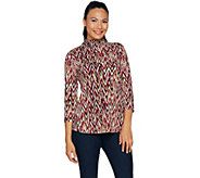 Susan Graver Printed Textured Liquid Knit Turtleneck Top - A293619