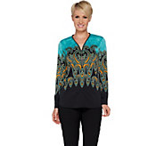 Bob Mackies Paisley Print Woven Blouse with Zipper Neck Detail - A293819