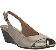 As Is Clarks Leather Slingback Peep-toe Wedges - Brielle Kae - A296919