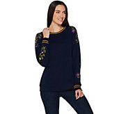 Susan Graver Weekend Embroidered French Terry Long-sleeve Top - A300519