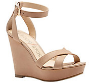 Sole Society Leather or Suede Strappy Wedge - Colette - A340719