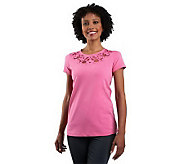 Isaac Mizrahi Live! Floral Cut-Out Scoop Neck Knit T-shirt - A220520