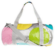 little missmatched PolkaDot&Stripe Metallic Silver Duffle Bag - A222720