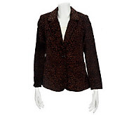 Denim & Co. Animal Print Velveteen Blazer - A228120