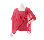 M by Marc Bouwer Knit Top with Novelty Chiffon Detail - A231220