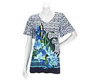 Susan Graver Placement Print Liquid Knit Flutter Sleeve Top - A234320