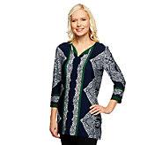Susan Graver Liquid Knit Printed V-Neck Top w/ 3/4 Sleeves - A237020