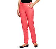Denim & Co. Petite Perfect Denim Smooth Waist Straight Leg Jeans - A239620