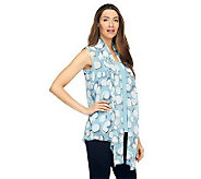 As Is Susan Graver Crinkled Chiffon Printed Vest w/ Tank - A240320