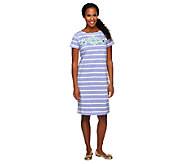 Bob Mackies Floral Applique Striped Short Sleeve Knit T-Shirt Dress - A252320
