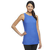 G.I.L.I. Sleeveless Sheer Mesh Knit Top w/ Side Slits - A252920