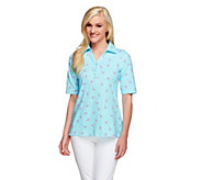 Susan Graver Weekend Stretch Cotton Novelty Print Polo Shirt - A254920