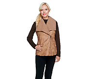 Lisa Rinna Collection Faux Sherling Zip Front Vest - A256720