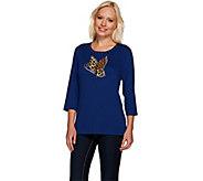 Quacker Factory Leopard Flutter Scoopneck T-shirt - A257620