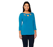 Susan Graver Liquid Knit 3/4 Sleeve Top with Cutout Neckline - A261920