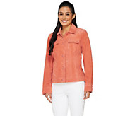Dennis Basso Washable Suede Button Front Jacket - A262920
