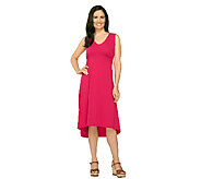 Susan Graver Weekend Cotton Modal Dress with Hi-Low Hem - A263020