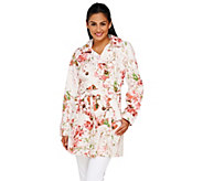 Dennis Basso Water Resistant Floral Print Trench Coat with Belt - A264920