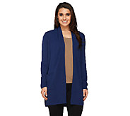 As Is Susan Graver Plush Knit Long Sleeve Open Front Cardigan - A268320