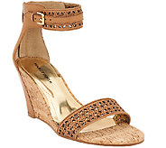 As Is Marc Fisher Perforated Wedge Sandals - Coley - A270120