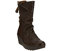 FLY London Leather Lace-up Back Mid-calf Boots - Yada - A270820