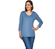 Denim & Co. Essentials 3/4 Sleeve Knit Top with Pocket - A273020