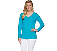 Susan Graver Weekend Essential Cotton Modal Long Sleeve Top - A273720
