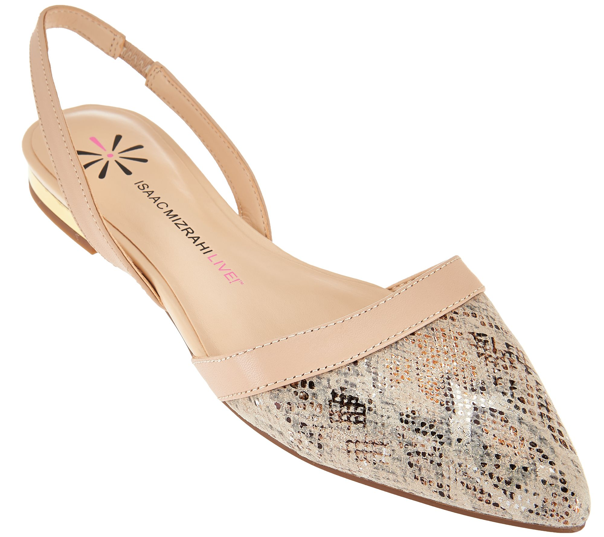 Isaac Mizrahi Live! Leather and Snake Print Flats