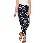 Susan Graver Printed Stretch Woven Comfort Waist Side Zip Ankle Pants - A274520
