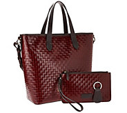 As Is Dooney & Bourke Woven Embossed Leather Shopper - A276220