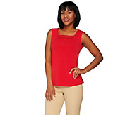 Susan Graver Liquid Knit Tank with Crochet Lace - A276420