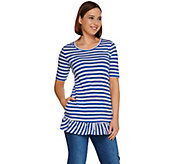 LOGO by Lori Goldstein Short Sleeve Stripe Top with Ruffle Hem - A276620
