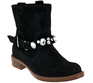As Is Kensie Suede Ankle Boots w/ Embellished Strap - Squire - A277720
