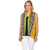 As Is Bob Mackies Animal Collage Printed Open Front Georgette Vest - A277920