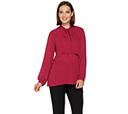 Joan Rivers Layered Girlfriend Blouse with Tie Neck - A283720
