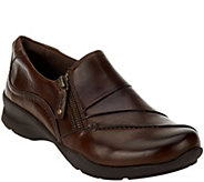 Earth Leather Slip-on Shoes with Side Zip - Anise - A284120
