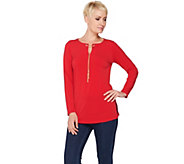 Susan Graver Liquid Knit Tunic with Removable Chain - A285420