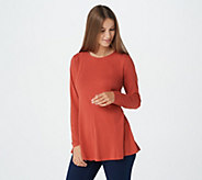 Denim & Co. Essentials Long Sleeve Round Neck Fit and Flare Tunic - A285820